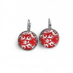 French wire earrings with a red damask theme.