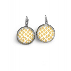 Lever-back earrings with a yellow, hand-drawn lozenges pattern