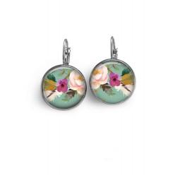 Boucles d'oreilles dormeuses motif boho floral fond vert d'eau fleur rose