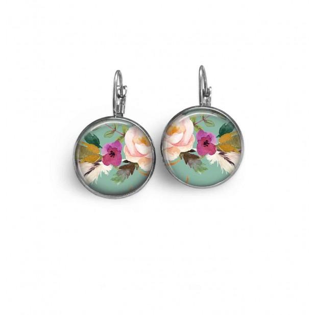 Boucles d'oreilles dormeuses motif boho floral fond vert d'eau fleur rose - hémaite