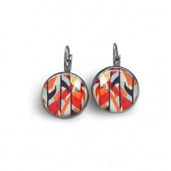 Lever-back earrings with a red and navy blue abstract watercolor theme