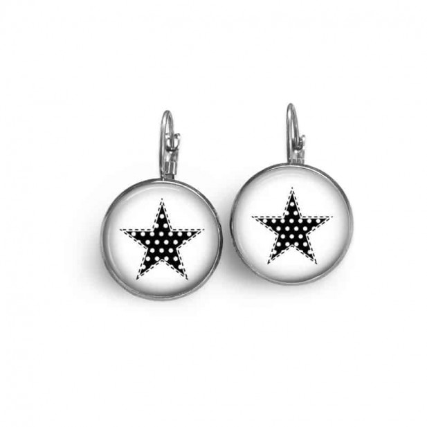 Lever-back earrings with a contemporary black and white polka-dotted star theme