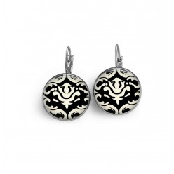 Lever-back French wire earrings with a black and white damask theme 2.