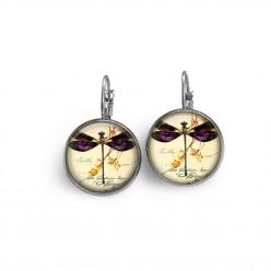 Boucles d'oreilles dormeuses thème libellule vintage violette