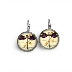 French wire earrings with a purple dragonfly theme.