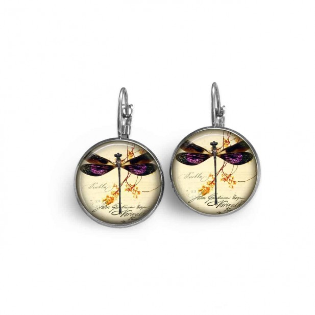 Boucles d'oreilles dormeuses thème libellule vintage violette - hématite