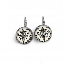 French wire - lever-back earrings with a black and white damask theme.
