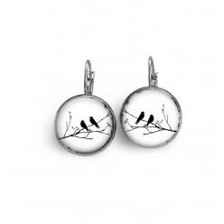 Boucles d'oreilles dormeuses thème oiseaux sur la branche noir et blanc