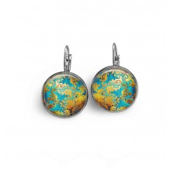 French sleeper style earrings with a gold and turquoise abstract theme.