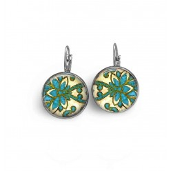 Sleeper lever-back earrings with an abstract damask theme in green and turquoise