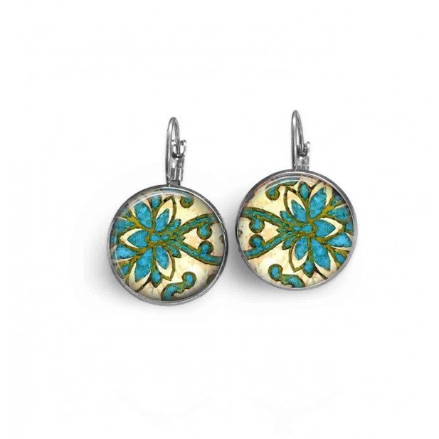 Sleeper earrings with an abstract damask theme in green and turquoise