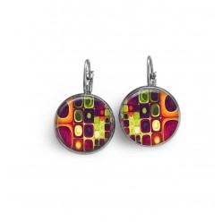 Boucles d'oreille dormeuses thème multicolore 'Klimt'