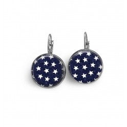 "Lever-back French wire earrings with a star pattern on a navy ""blue-jean"" background"