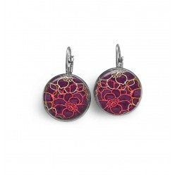 Lever-back earrings with a floral pattern on a prune / aubergine colored background