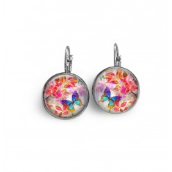 "Lever-back earrings with a turquoise ""summertime butterfly"" theme on red leaves theme"