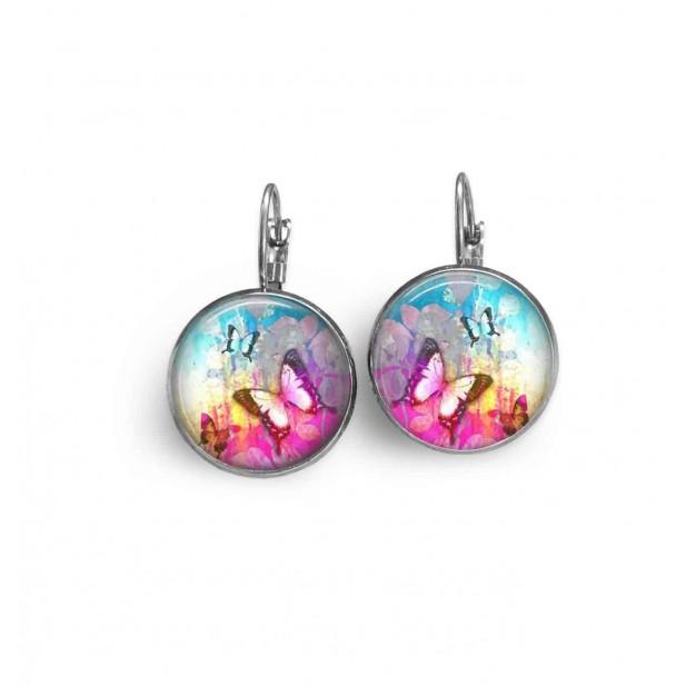 Boucles d'oreilles dormeuses avec le thème Summertime Papillon rose vif