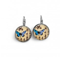 Lever-back wire earrings with a blue Japanese butterfly and kanji theme