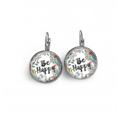 "Lever-back earrings with watercolor floral ""Be Happy"" theme."