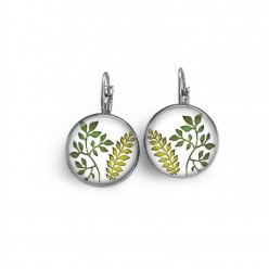 French wire earrings with green leaves theme.