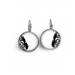 French wire / leverback earrings with the theme black damask  n ° 6