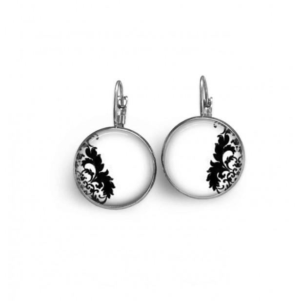 Boucles d'oreilles dormeuses avec le thème damassé noir et blanc n°6
