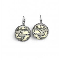 Leverback earrings with a hand-drawn Japanese clouds theme