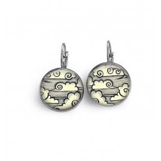 French wire earrings with a handrawn japanese clouds theme
