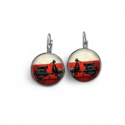 French wire / lever-back earrings with a vintage Vespa theme