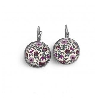 Boucles d'oreilles dormeuses avec le thème floral liberty violet