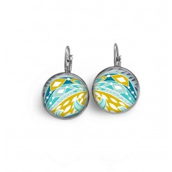French wire earrings with a turquoise and lime green hipster theme
