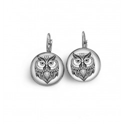 Lever-back earrings with a tribal owl in black and white