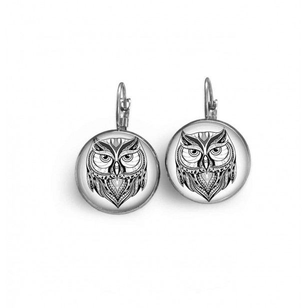 French wire earrings with a tribal owl in black and white