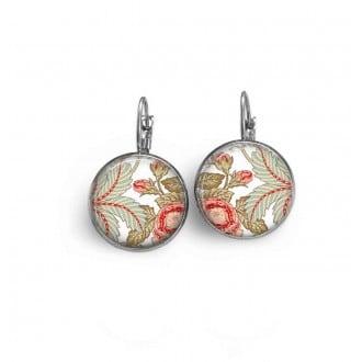Boucles d'oreilles dormeuses avec le thème floral liberty khaki et abricot.