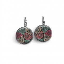 French wire / lever-back earrings with a pink and green on black background leaves theme.