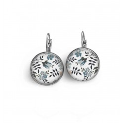 Lever-back earrings with a blue Liberty's of London floral theme