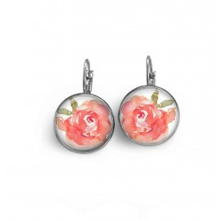 French wire / lever-back earrings with pink watercolor peonie theme