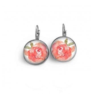 Boucles d'oreilles dormeuses avec le thème fleurs aquarelle rose.