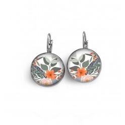 Boucles d'oreilles dormeuses avec le thème fleurs vertes et oranges