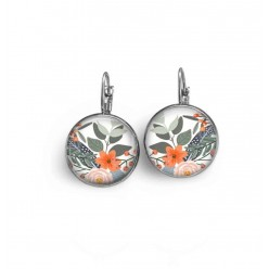 French wire earrings with a green and orange flowers theme.