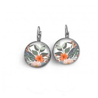 Boucles d'oreilles dormeuses avec le thème fleurs vert et orange.