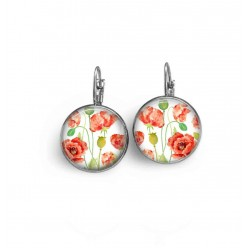French wire earrings with a handpainted watercolor poppies theme.