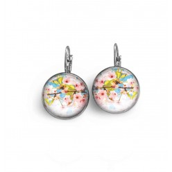French wire / lever-back earrings with a cherry blossoms theme.