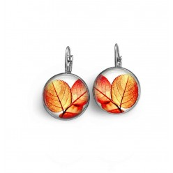 French wire / lever-back earrings with an orange toned leaves theme