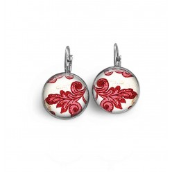 French wire / lever-back earrings with a red damask leaf theme