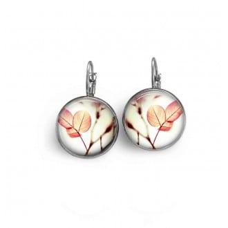 Boucles d'oreilles dormeuses thème feuilles roses