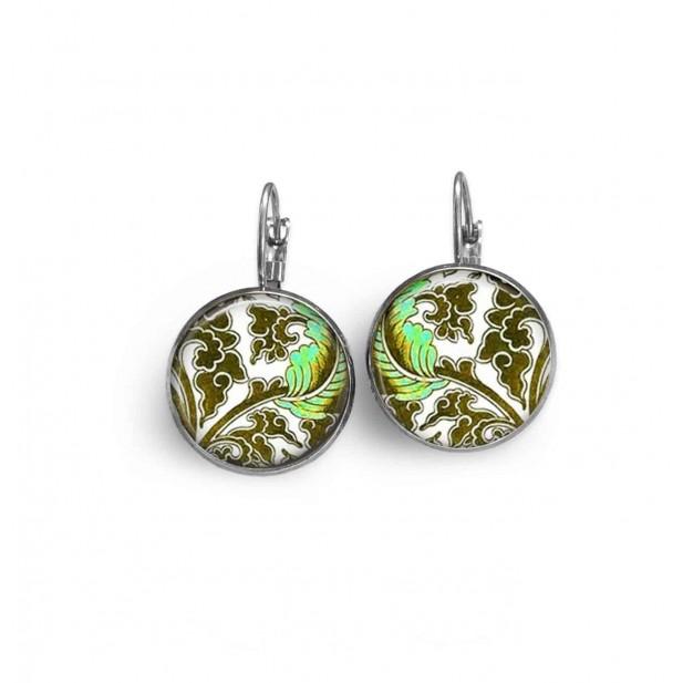 Boucles d'oreilles dormeuses thème de fleurs vert d'eau et khaki.
