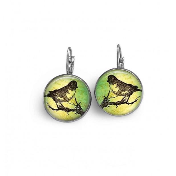 Boucles d'oreilles dormeuses thème oiseau sur la branche et texte sur fond vert.