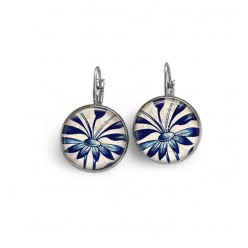 Lever-back earrings with a navy blue flower theme