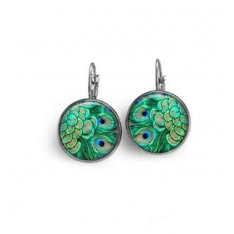 Boucles d'oreilles dormeuses thème plumes de paon vertes