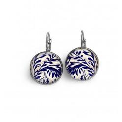 Boucles d'oreilles dormeuses thème porcelaine bleu marine et blanche